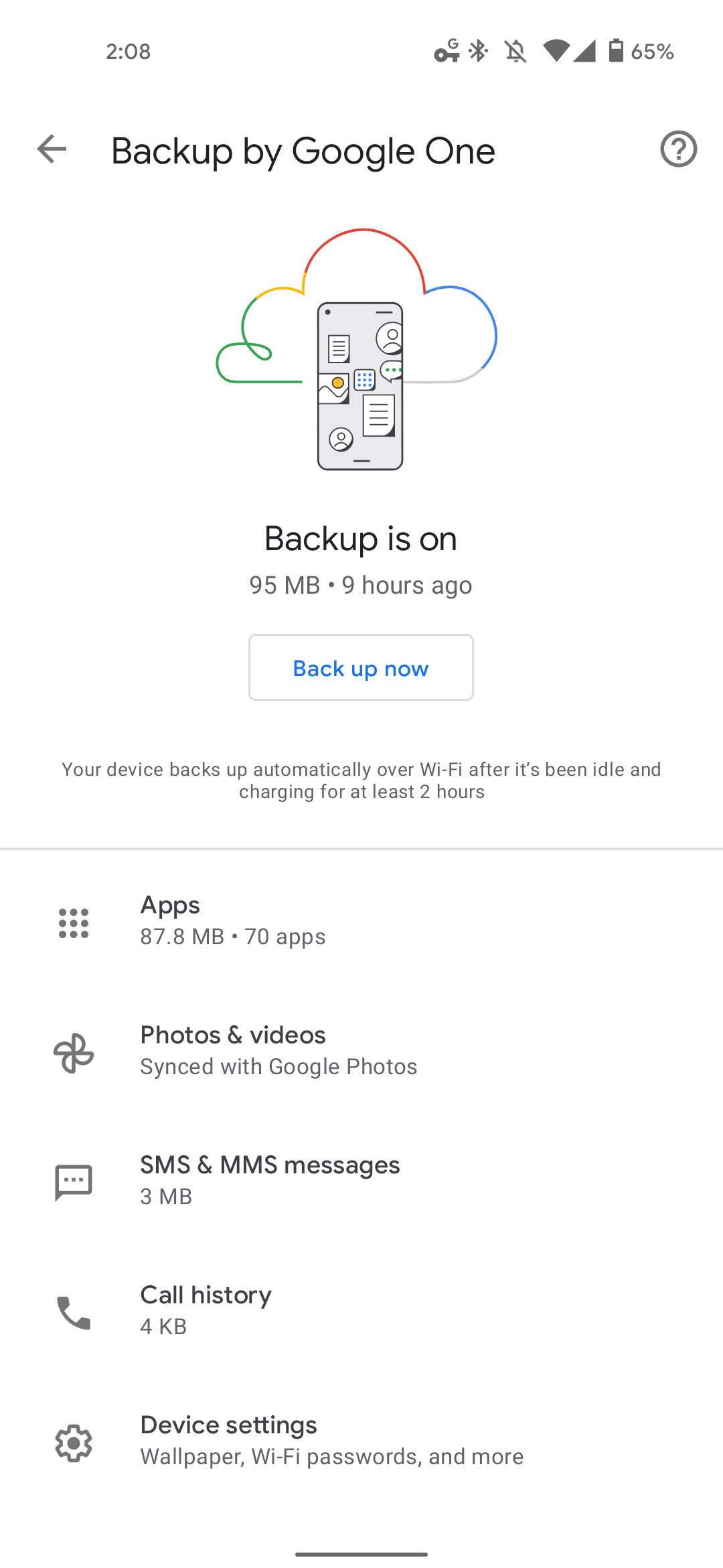 Backup Google One Android settings