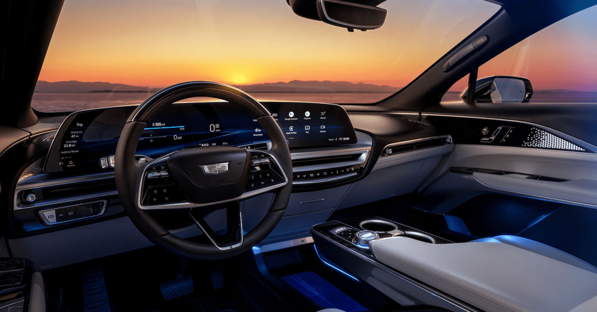 Cadillac Lyriq EV features Android Automotive with wide landscape touchscreen thumbnail