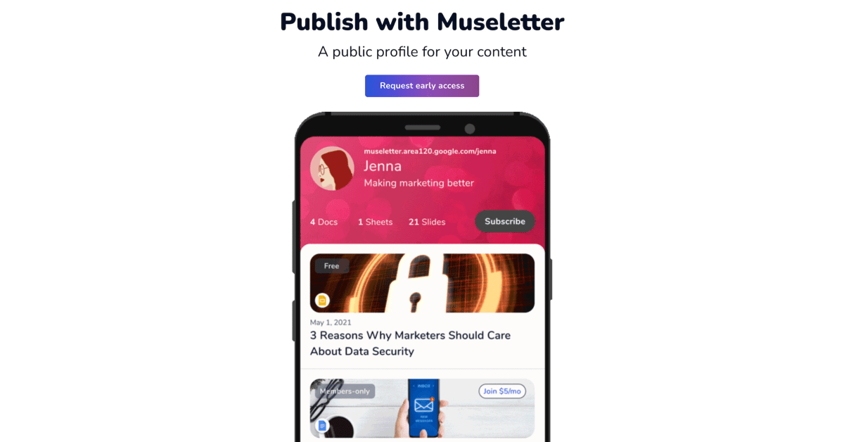 Area 120's 'Museletter' turns your Google Docs, Sheets, & Slides into paid newsletters