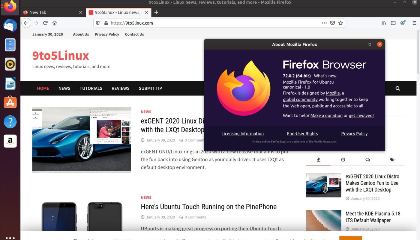 Firefox 72.0.2 on Ubuntu 19.10