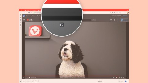 Vivaldi 2.11 mostrando novos controles de vídeo pop-up