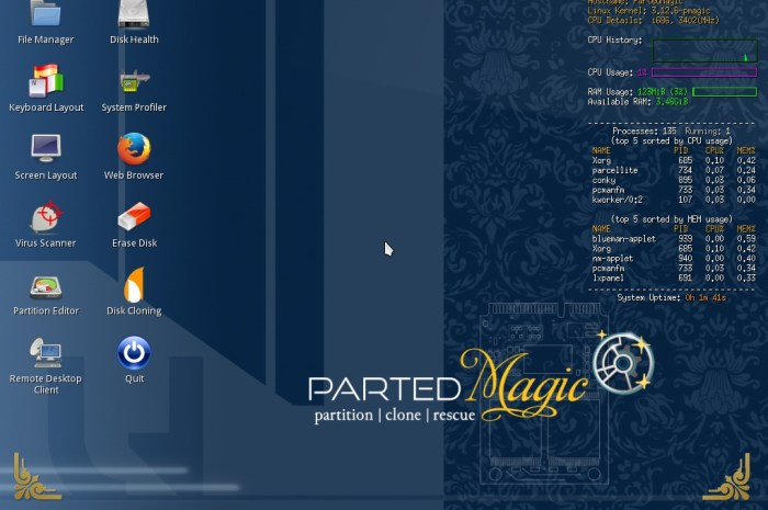 Parted Magic Distro Switches to Xfce Desktop, It's Now a Full 64-Bit System