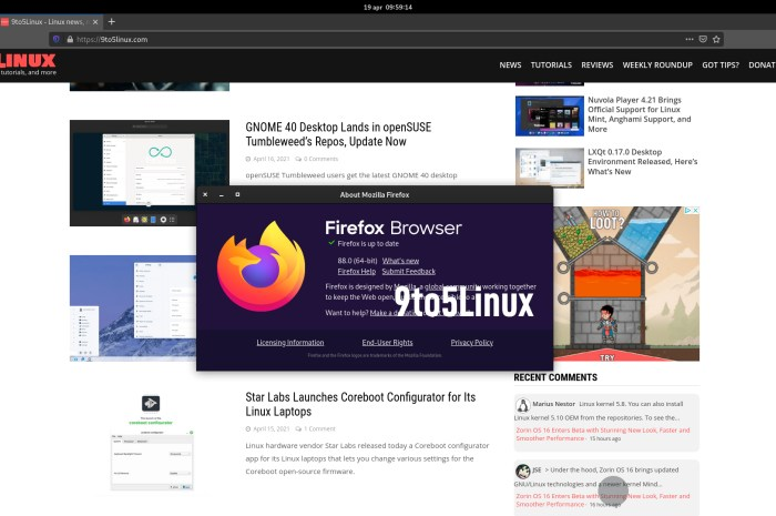 Firefox 88 Is Now Available for Download, Enables WebRender for KDE/Xfce Intel/AMD Users