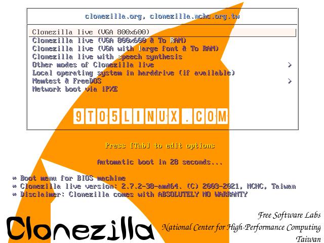 Clonezilla Live 2.7.2