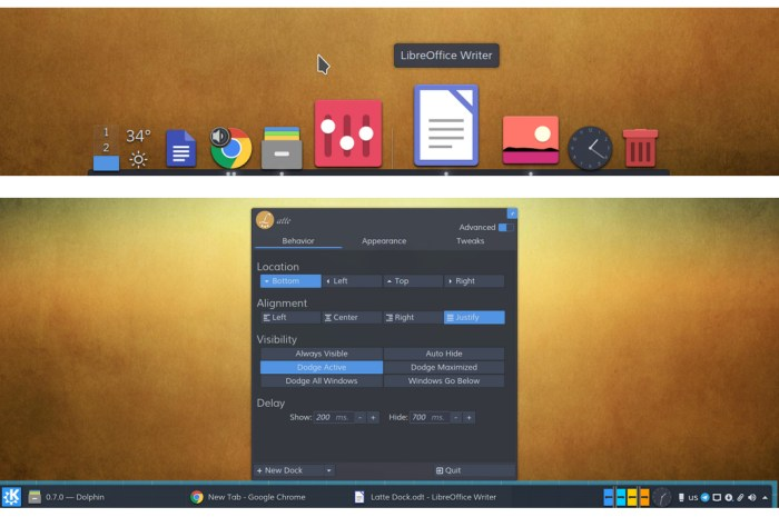 Latte Dock 0.10 Released with Support for Multiple, Floating Docks and Panels