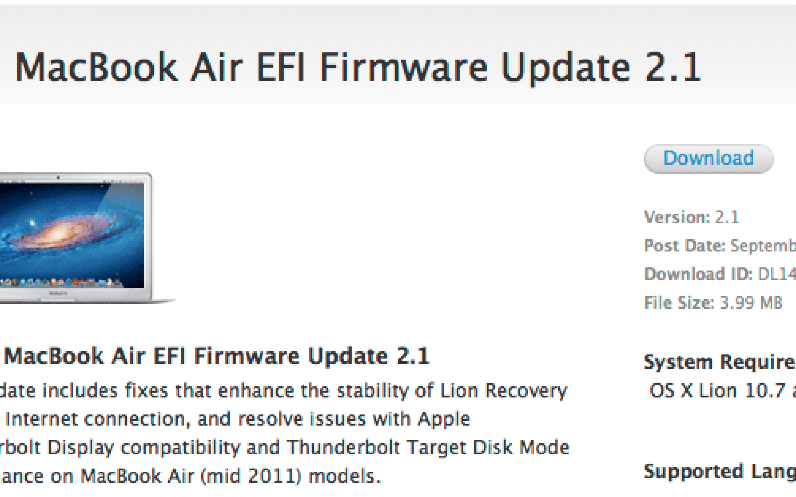 Get your MacBook Air ready for Thunderbolt with EFI firmware
