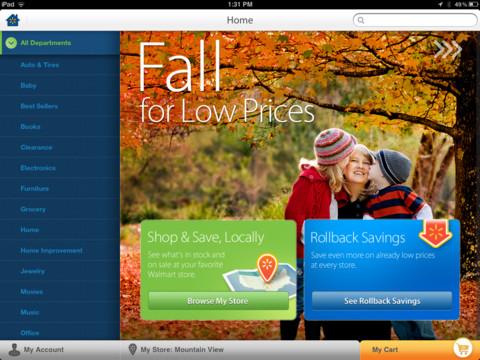 Walmart for iPad (screenshot 001)