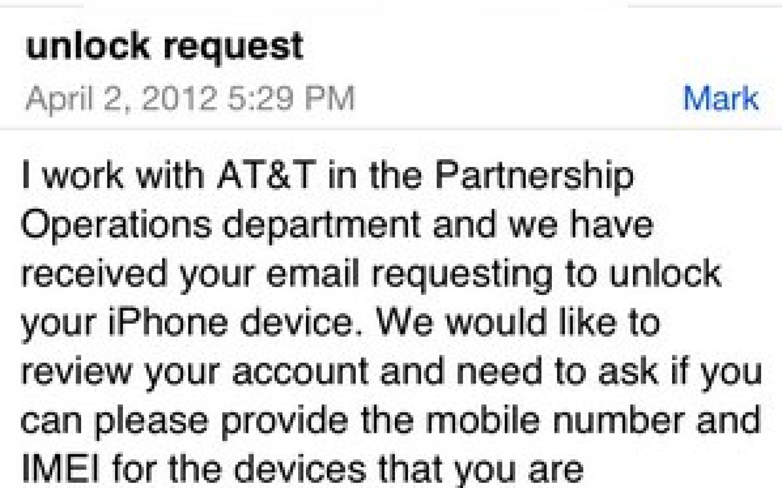 The best way to unlock your AT&T iPhone may be through Tim