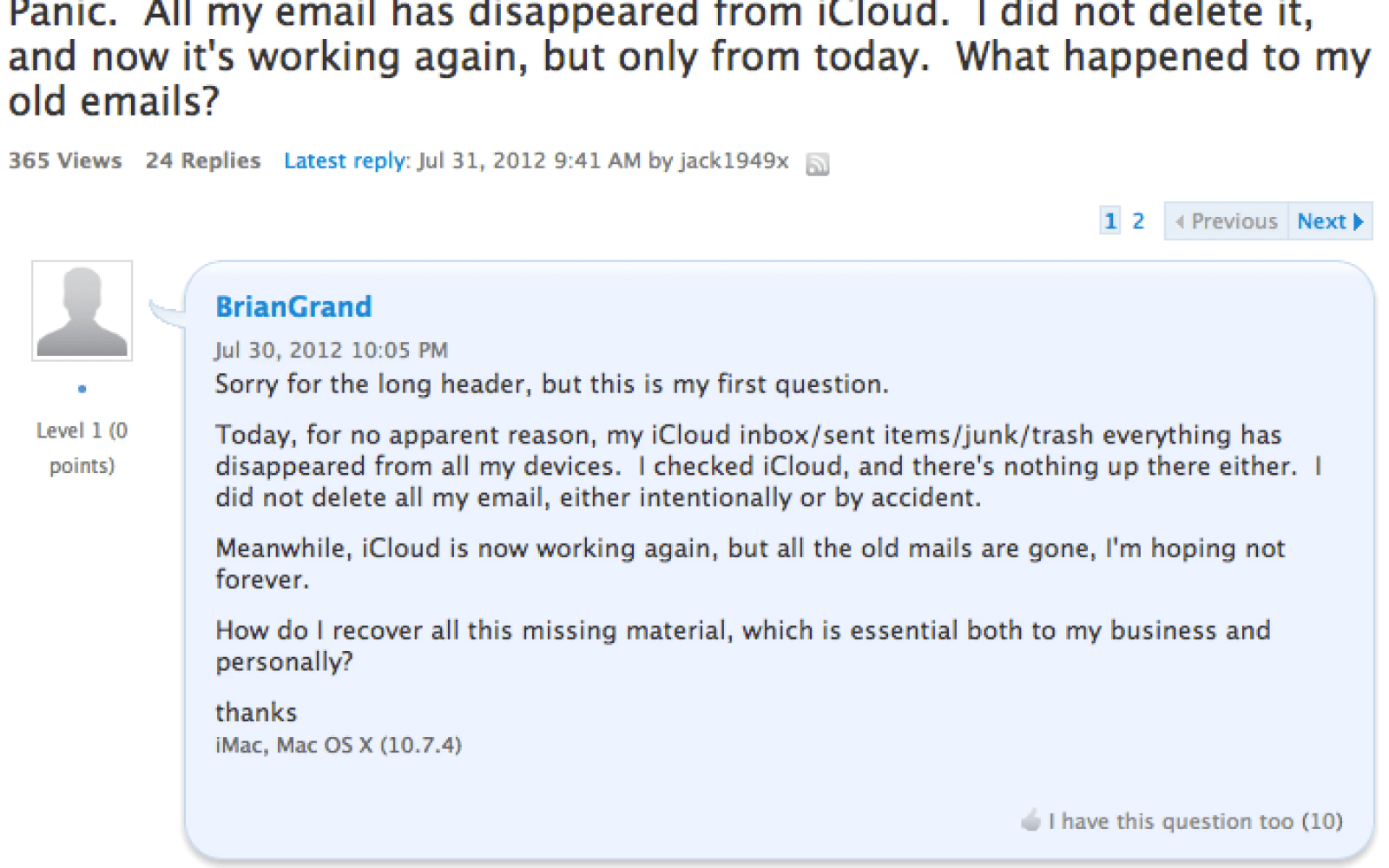 icloud mail not working today