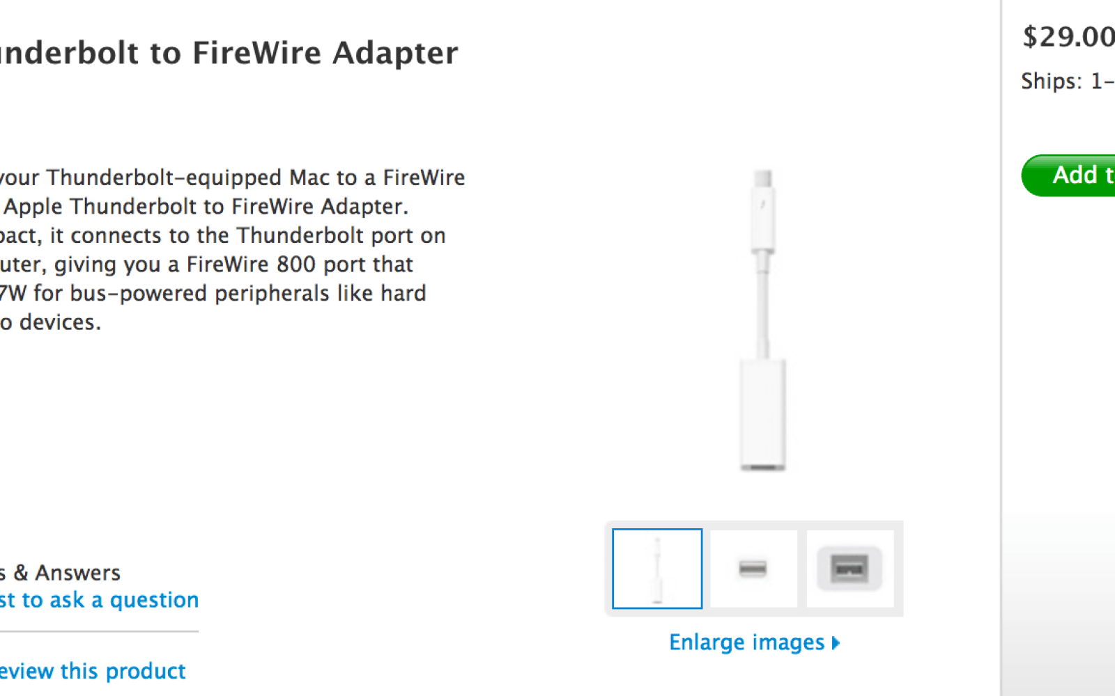 Thunderbolt to Firewire adapter finally available at the Apple Store ...