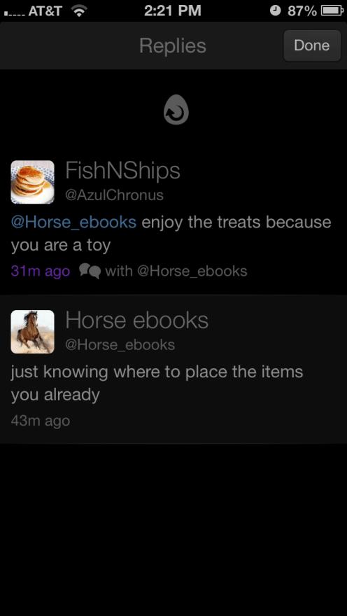 Replies view of a @horse_ebooks tweet
