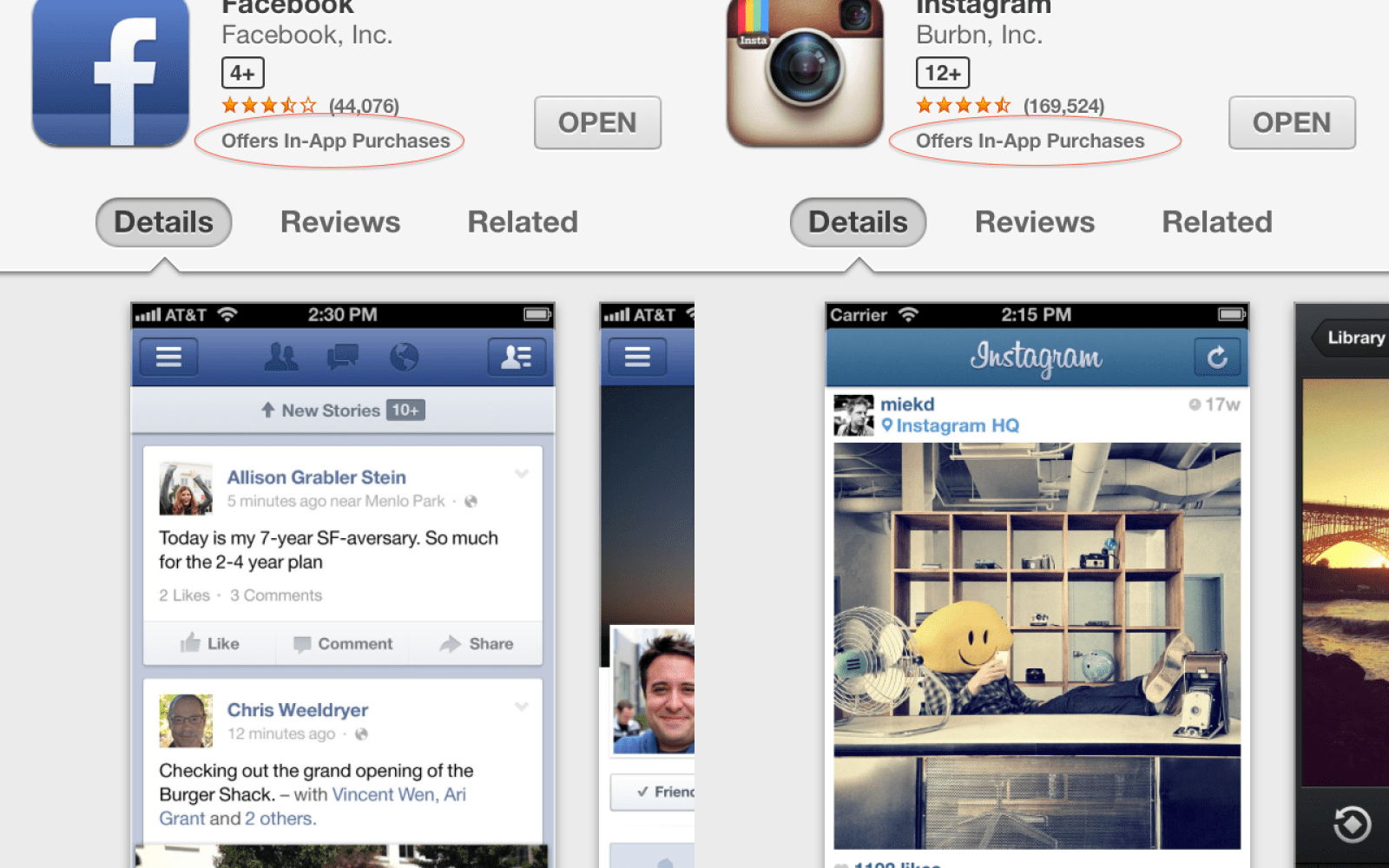 Apple App Store bug incorrectly claims Facebook, Instagram