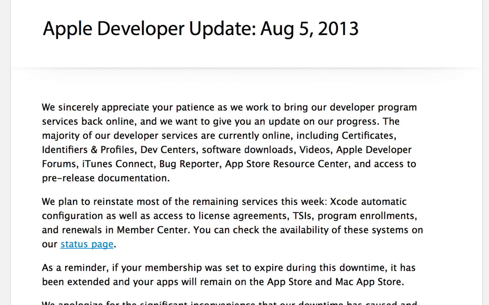 Apple sends out developer update: planning to restore most
