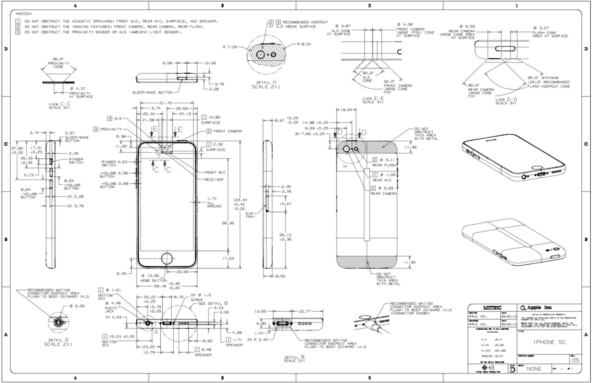 designing an iphone 5c 5s case? here are your official apple Schematic Design Drawings