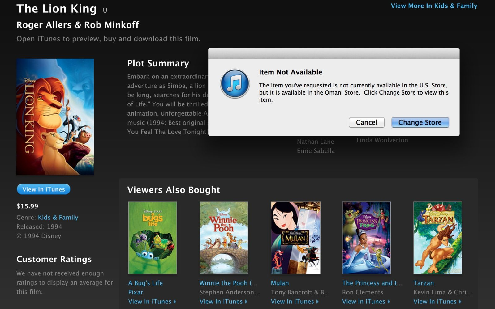 Some Disney and Pixar movies pulled from iTunes Store