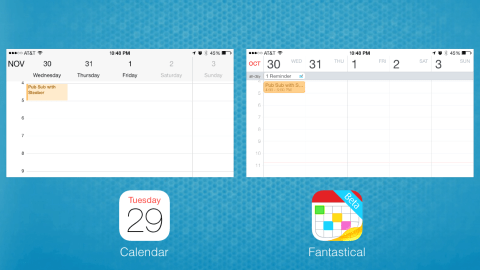 Landscape view in Calendar and Fantastical