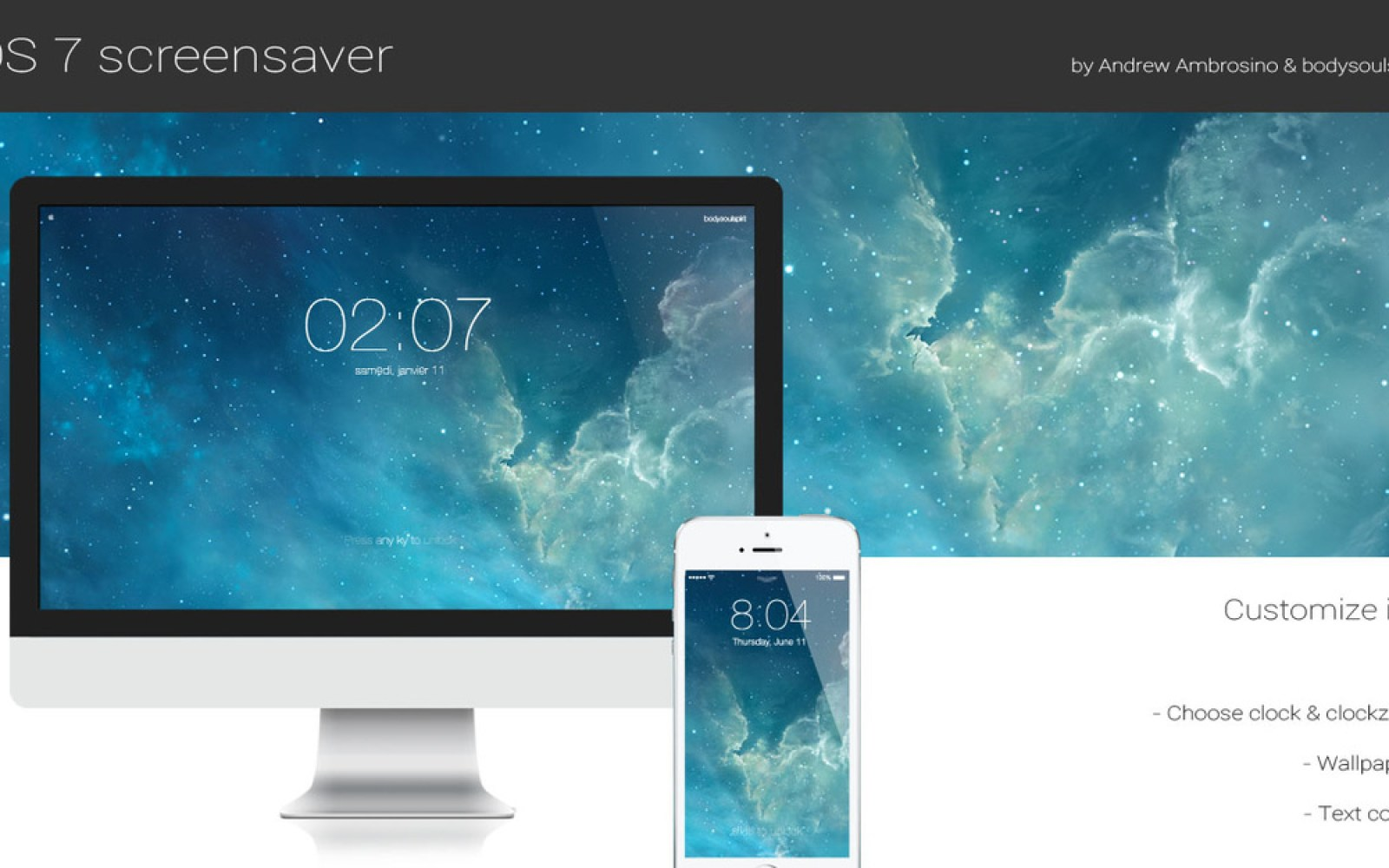 Stylish screensaver recreates the iOS 7 lock screen experience on your Mac