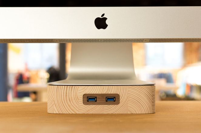 Woodster iMac stand packs in 2 USB ports in a solid chunk of birch or oak