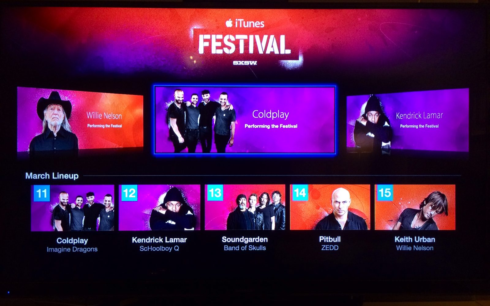 iTunes Festival channel shows up on Apple TV ahead of SXSW