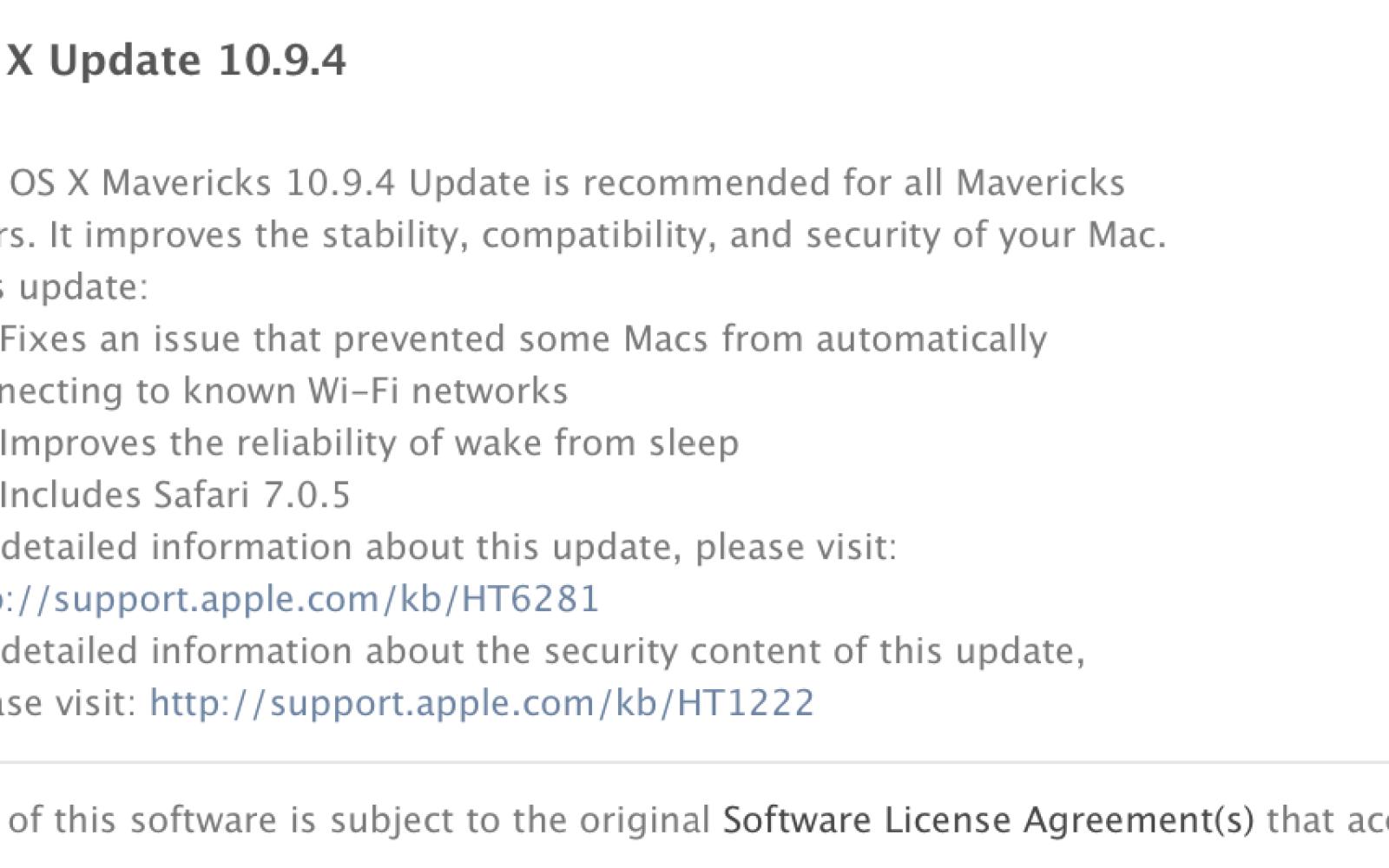 Apple releases OS X 10.9.4 with WiFi & wake-from-sleep fixes, Safari 7.0.5