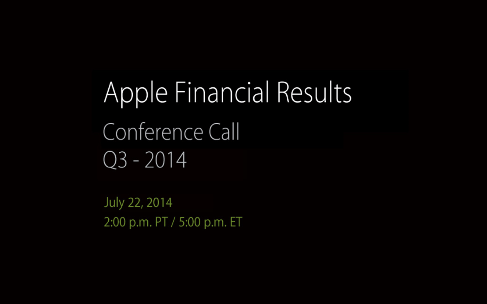 Apple to announce Q3 2014 earnings results on July 22nd