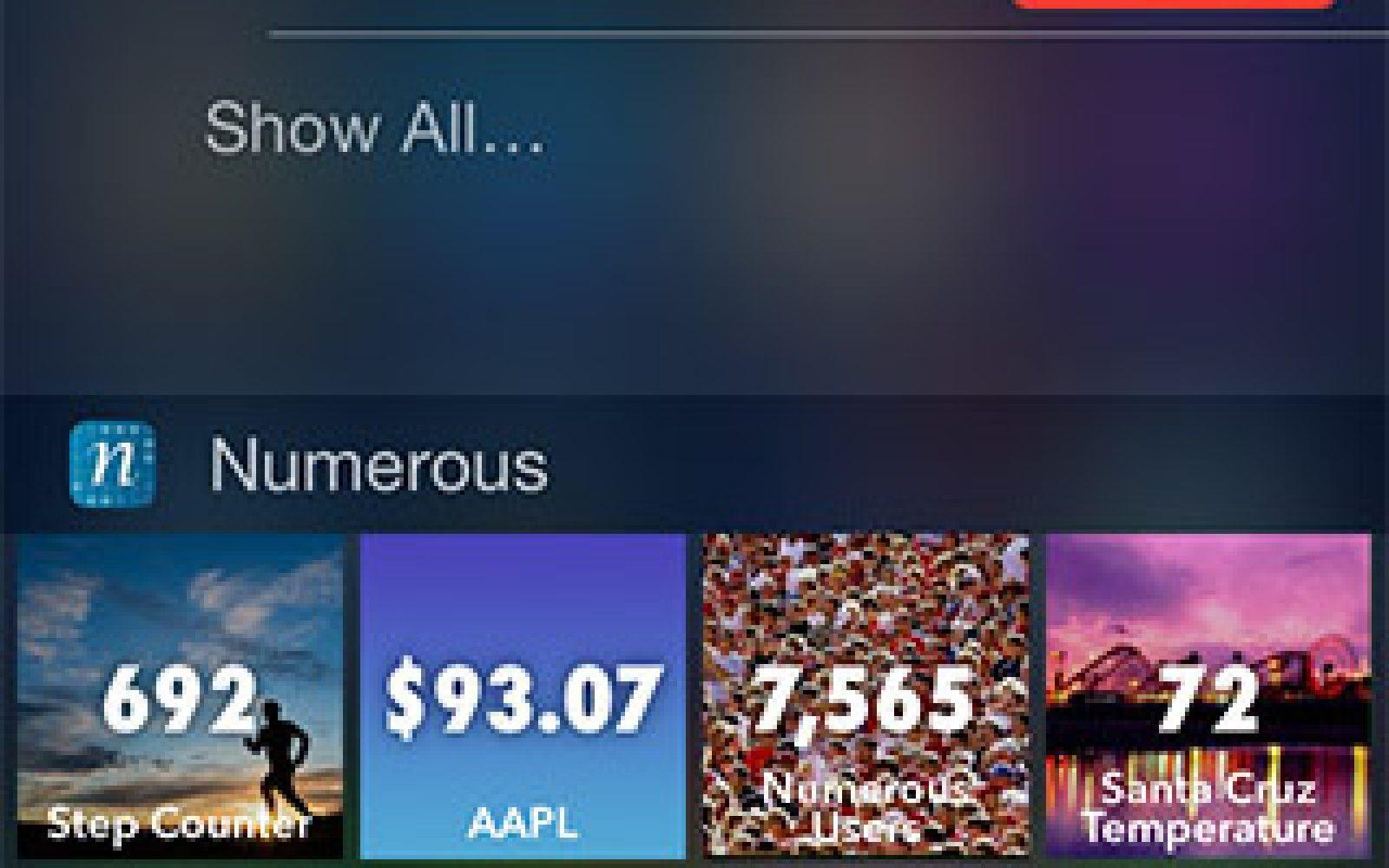 iPhone app Numerous previews iOS 8 Notification Center integration