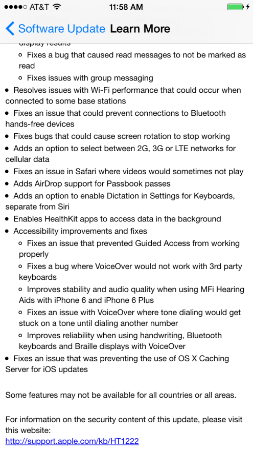 iOS 8.1 release notes