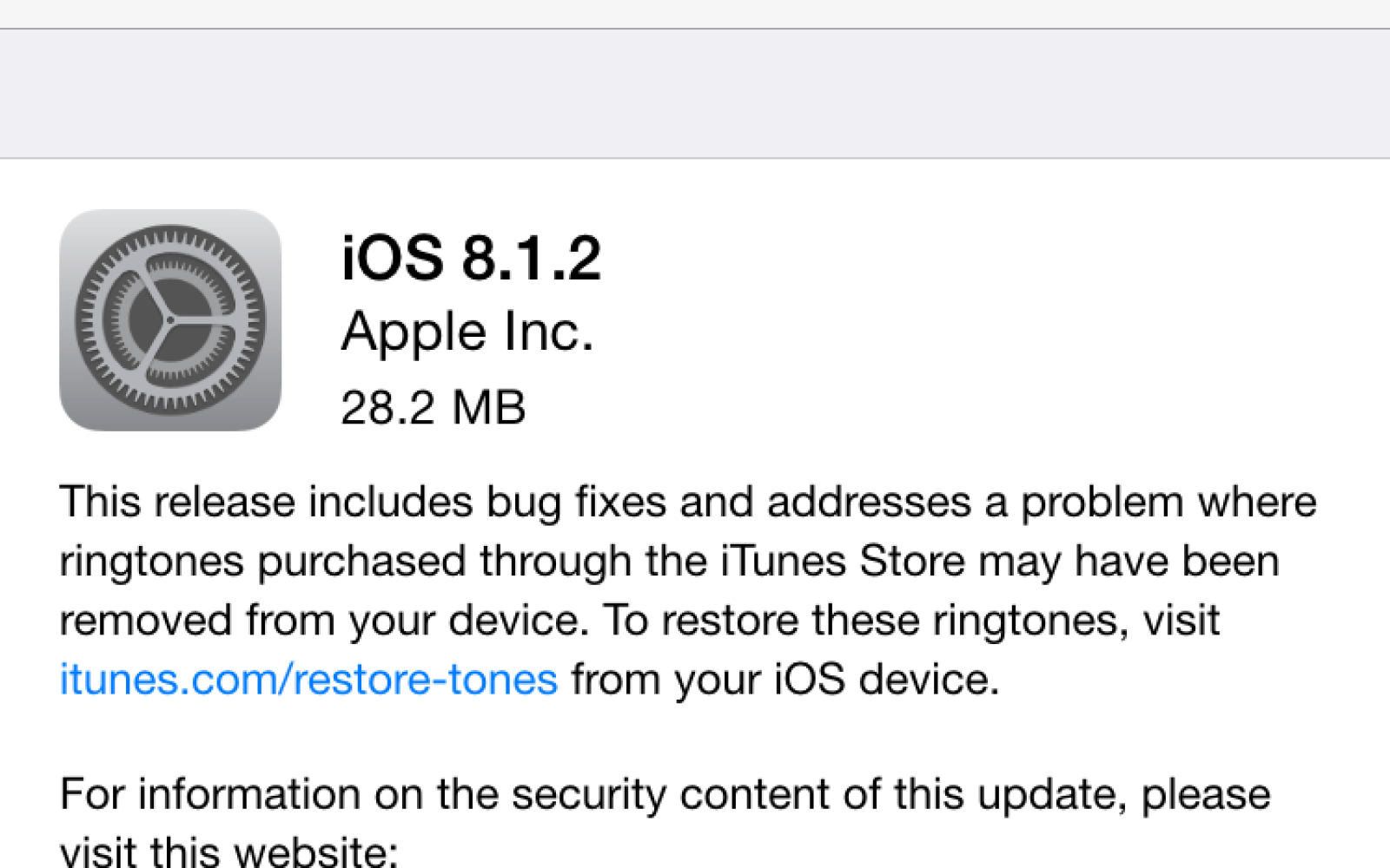 Apple releases iOS 8.1.2 with fixes for bugs including ringtone issues