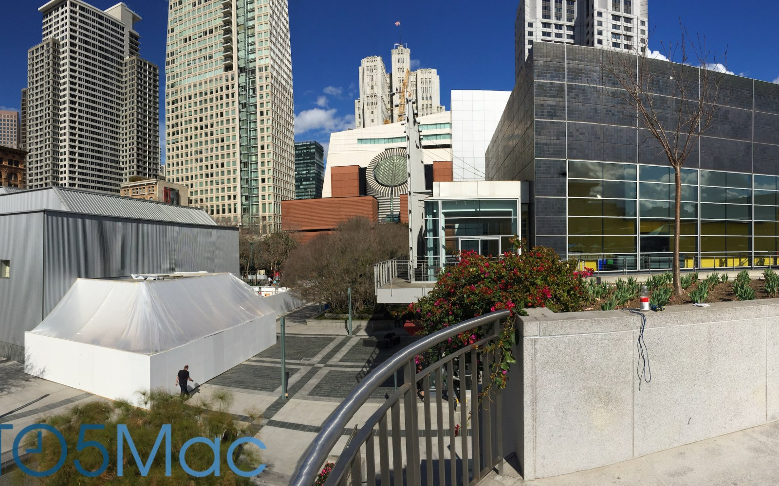 Apple constructing outdoor building next to Yerba Buena, likely demo area for Watch event on March 9th
