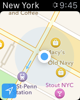 Current location via Maps on Apple Watch