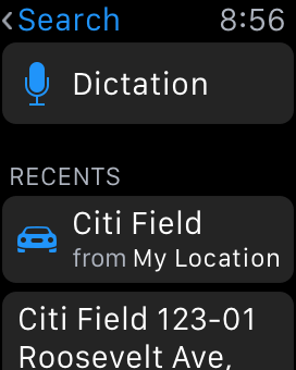 Search from Maps on Apple Watch