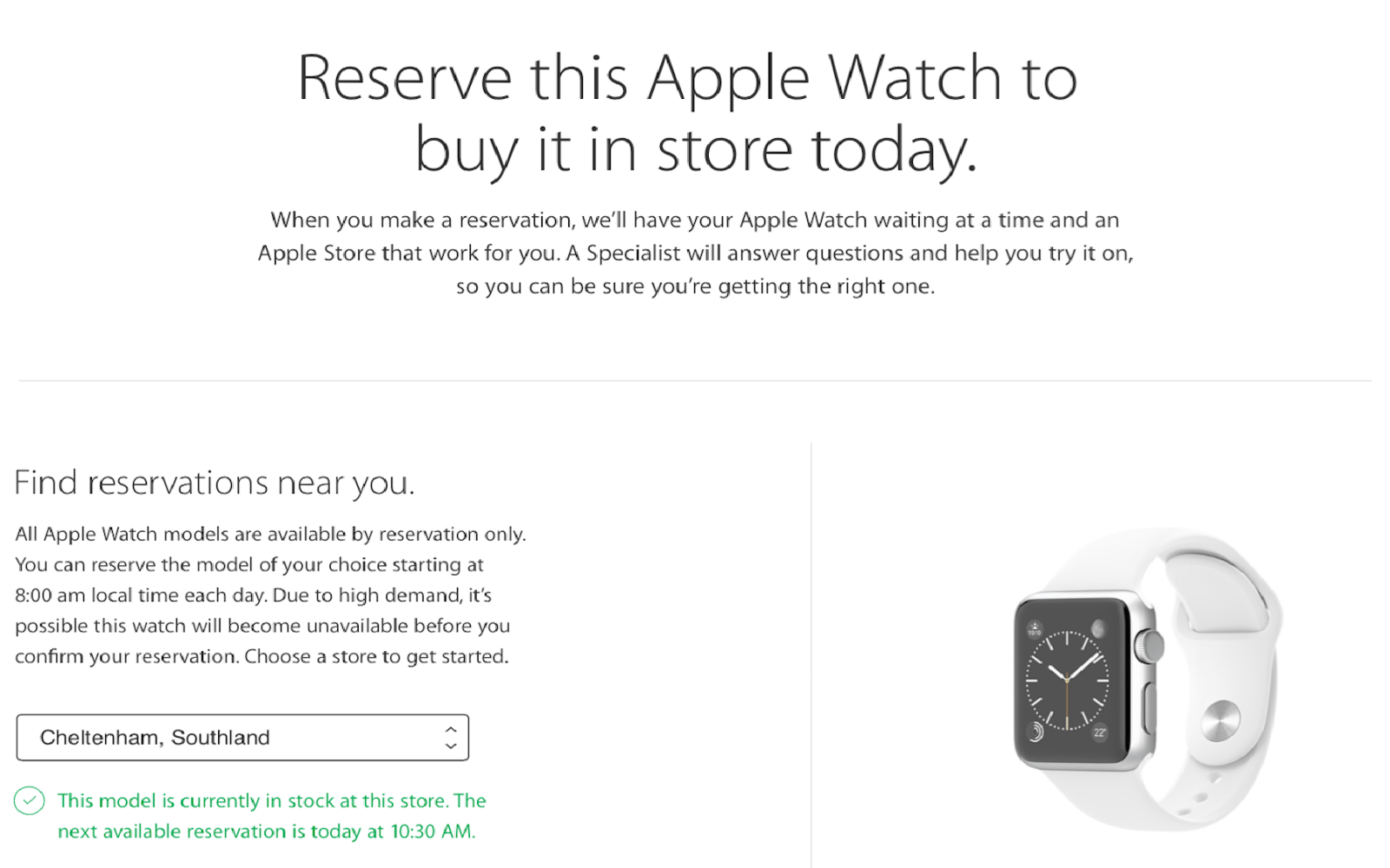 Apple Watch Reserve & Pickup system now rolling out, select