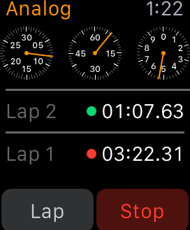 Apple Watch Stopwatch Analog Breakdown