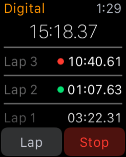 Apple Watch Stopwatch Digital