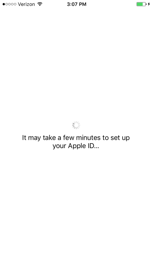 It may take a few minutes to set up you Apple ID iOS 9