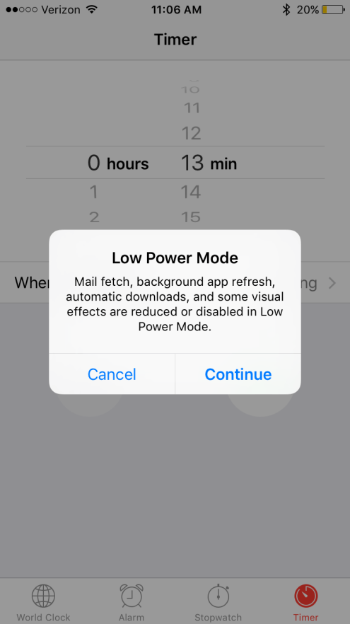 iOS 9 Selecting Low Power Mode