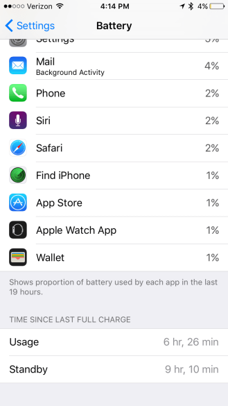 iOS 9 Battery Time Since Last Full Charge