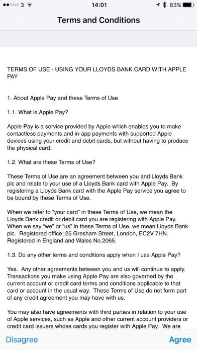 Lloyds ApplePay T&C