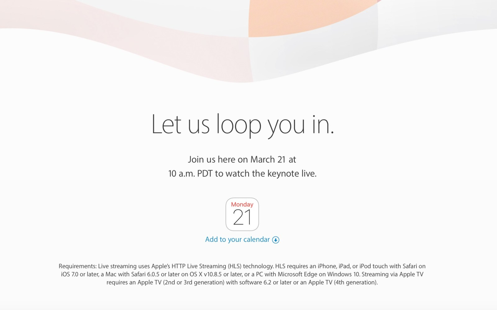 Apple confirms it will livestream March 21st event for iOS, Mac, Apple TV and Windows users
