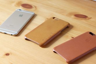 iPhone 6, Mujjo Leather Case in Tan, and a new Apple Leather Case in Saddle Brown (for color comparison)