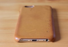 Mujjo Leather Case in Tan with an iPhone 6 inside bottom view