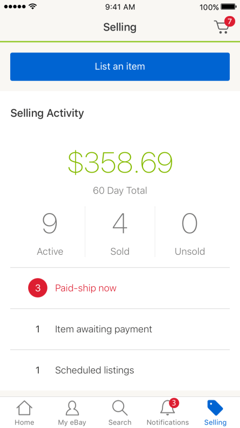 eBay iOS Selling