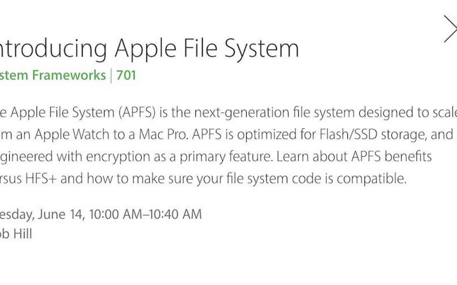 Apple File System (APFS) announced for 2017, scales 'from Apple Watch to Mac Pro' and focuses on encryption