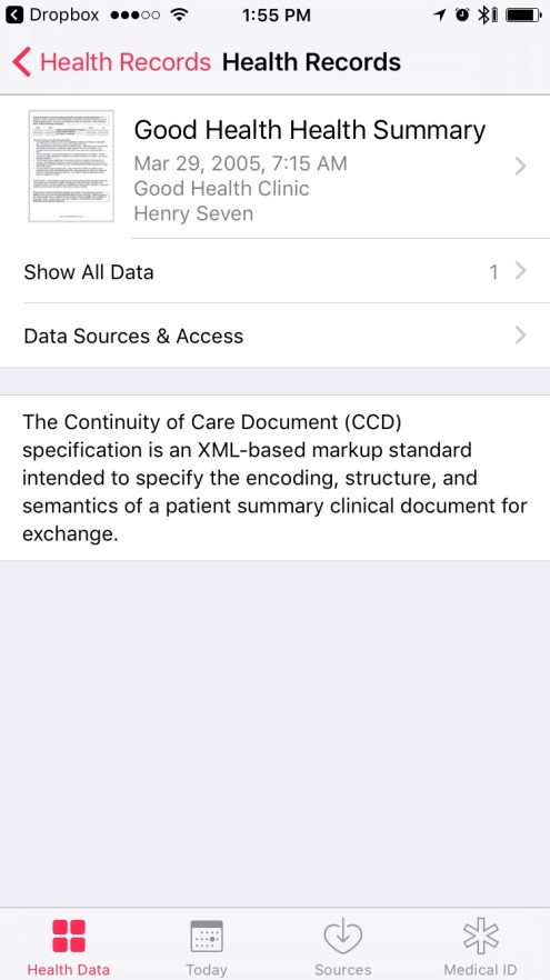 Health Records in iOS 10 - List of all Health Records added