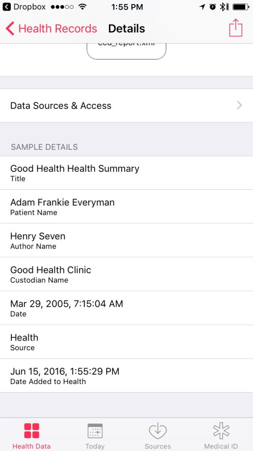 Health Records in iOS 10 - Individual record view after having been saved to Health