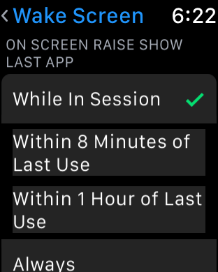watchOS 3 Wake Screen - While In Session