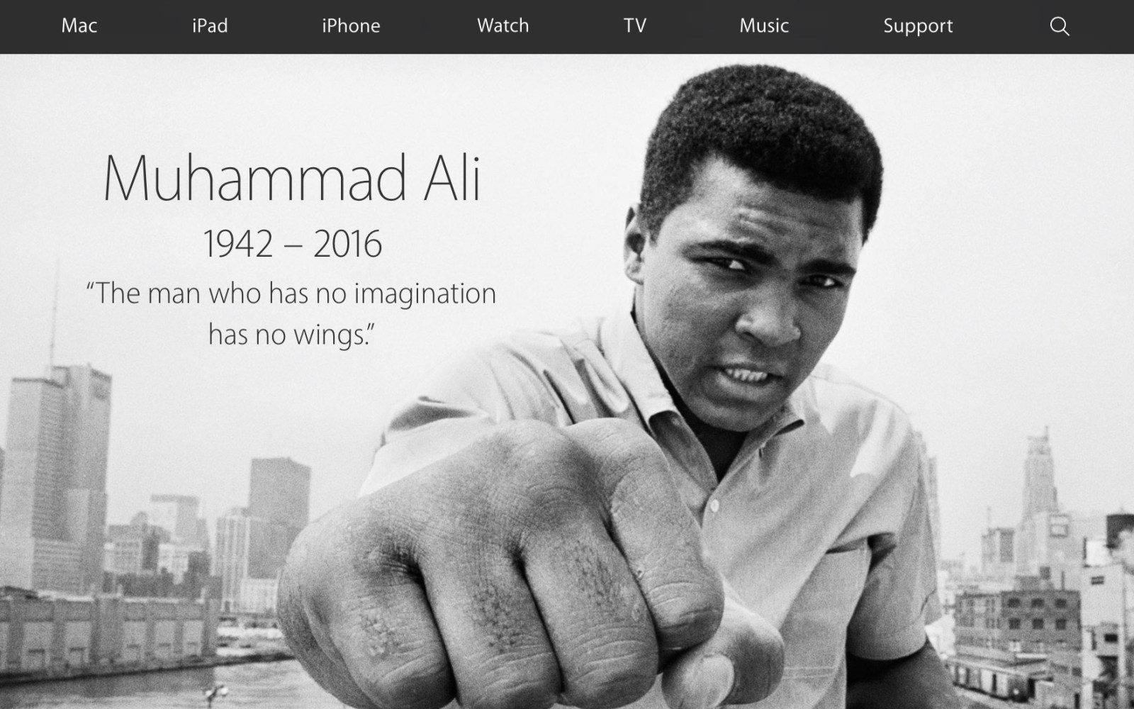 Apple commemorates Muhammad Ali with homepage tribute