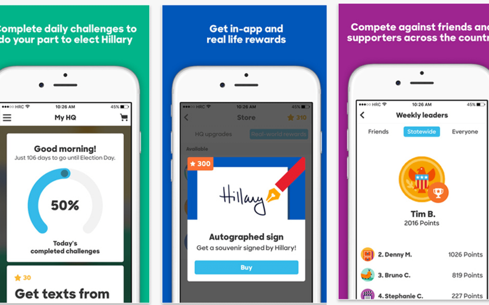 Hillary 2016 app sees gamification of political activism for iPhone-owning Democrats