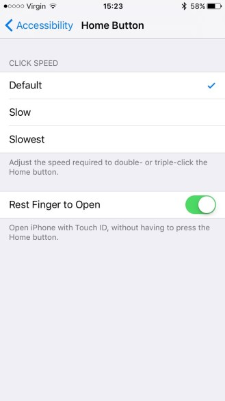 Enable 'Rest Finger to Open'