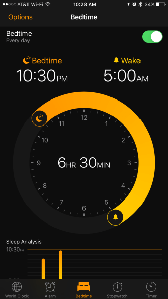 Clock Sleep iOS 10